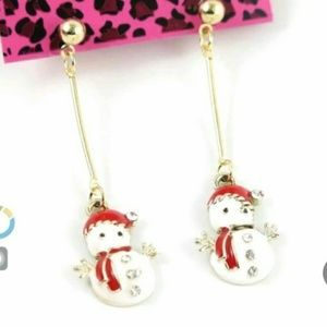 Betsey Johnson Christmas Snowman Dangling Earrings